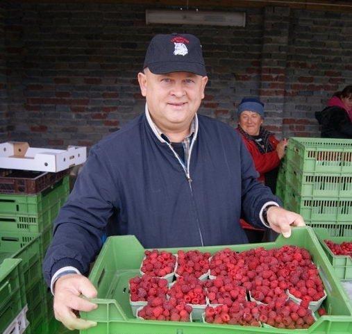 Мужчина с ящиком малины в руках