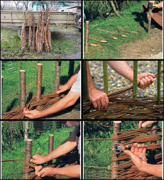 Изготовление плетня: пошаговые фото