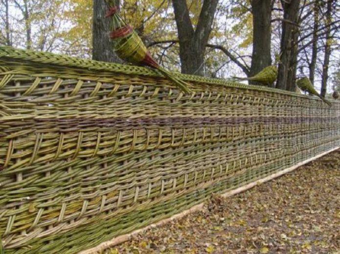 Забор из плетня с использованием разноцветной лозы