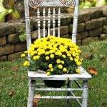 Старый стул с дырой в сиденье, в отверстие вставлен горшок с жёлтыми цветами