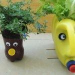 Пластиковая бутылка и канистра в виде лиц с волосами-растениями