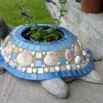 Черепаха-кашпо из старого тазика и строительного гипса
