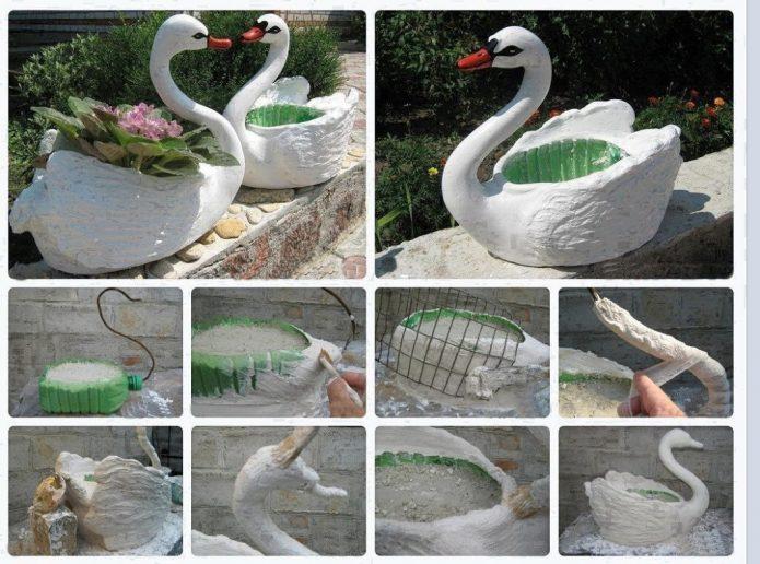 Пошаговые фото изготовления кашпо-лебедь