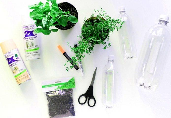 Инструменты и материалы для горшков из пластиковых бутылок
