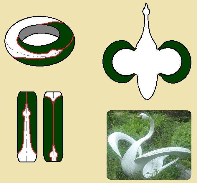 Схема фигуры-украшения в виде лебедя