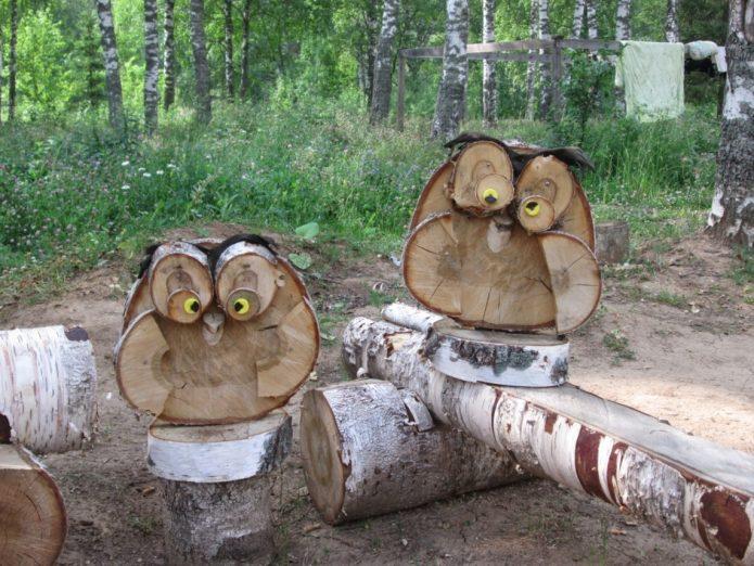 Совы из древесных спилов