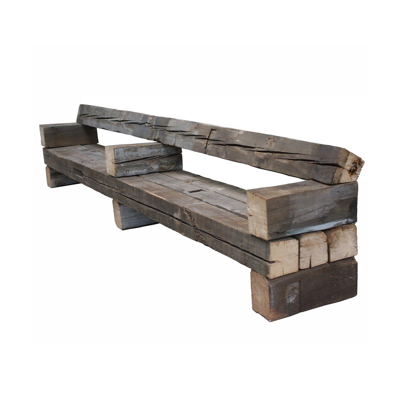 Скамейка из старого бруса