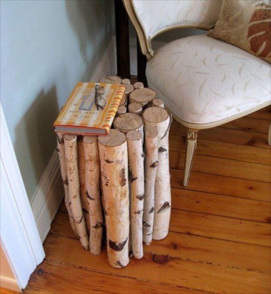 Столик из берёзовых брёвен