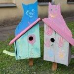 Скворечник с фанерными кошками