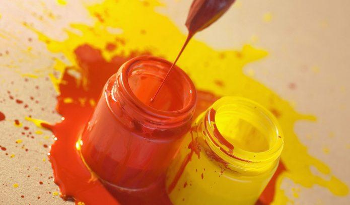 Жёлтая и оранжевая краски