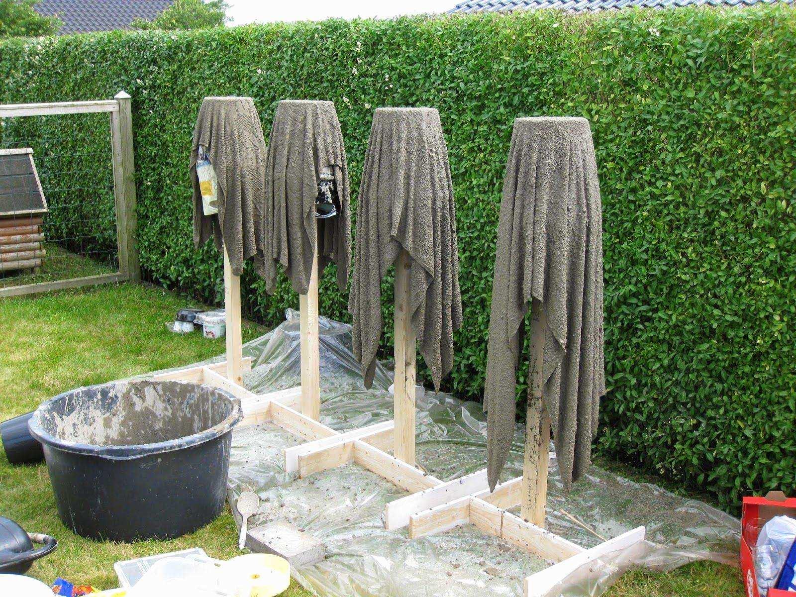 Вазы из цемента и ткани своими руками для сада