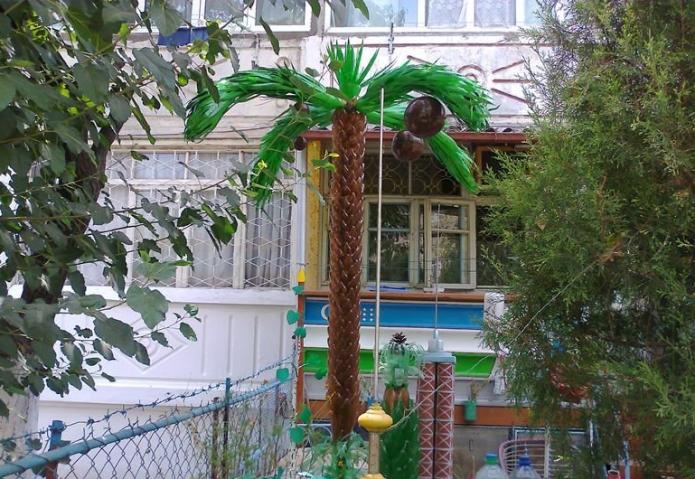 Плоды кокоса на пальме из пластиковых бутылок
