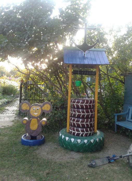Колодец из шин на детской площадке