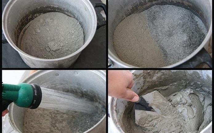 Поэтапное замешивание цементной смеси