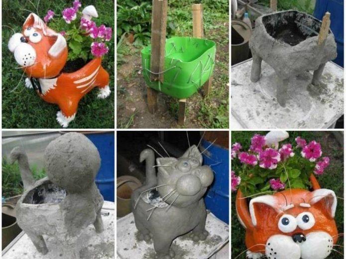 Этапы изготовления кота-клумбы