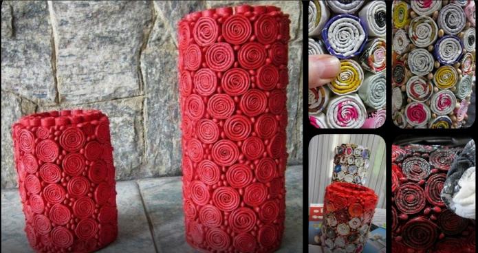 Этапы создания вазы из картонного цилиндра