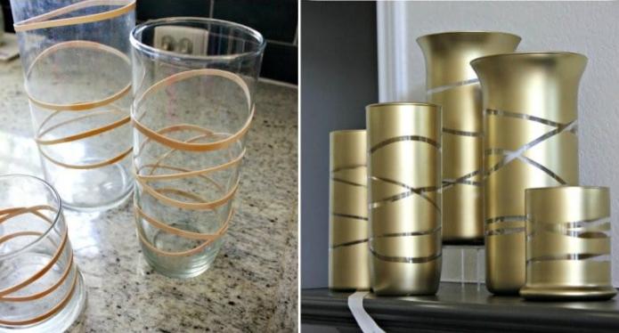 Простой декор вазы аэрозольной краской