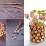 Декорирование вазы деревянными срезами