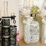 Оформление стеклянной вазы кружевом