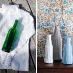 Декор ваз из рукавов старого свитера