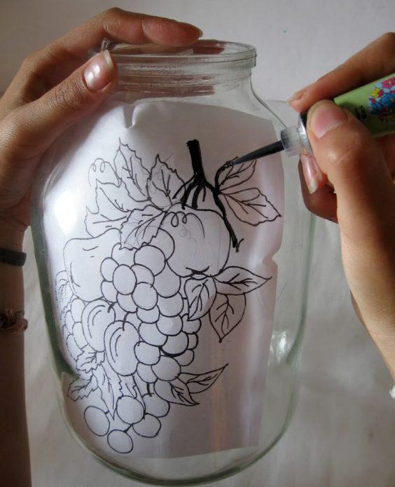 Создание вазы из стеклянной банки