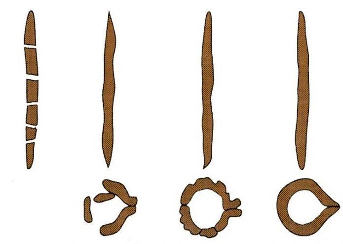 Скатанные из почвы для определения её состава жгутики