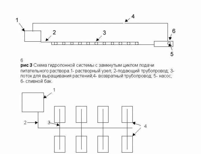 Схема взаимодействия основных элементов гидропонной установки