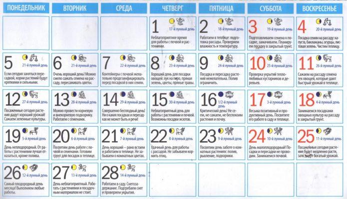Лунный календарь для овощевода на февраль