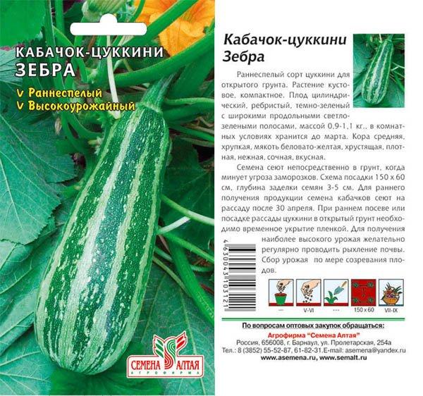 Семена цукини Зебра