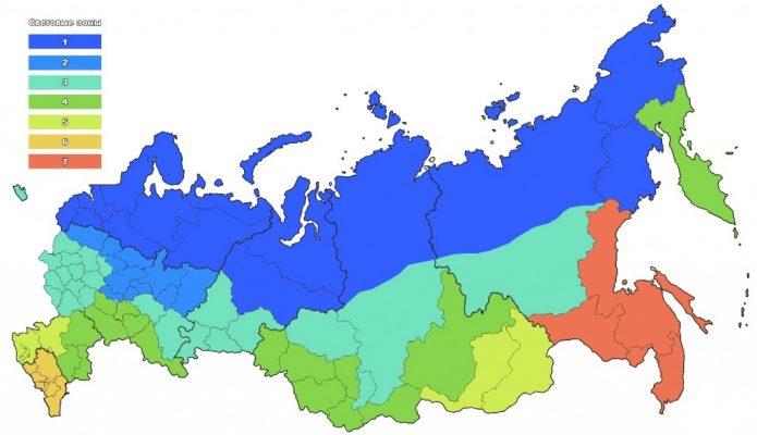 Карта световых зон России
