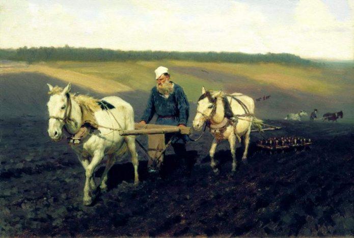 Лев Толстой на пашне