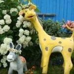 Жираф и ослик из пены