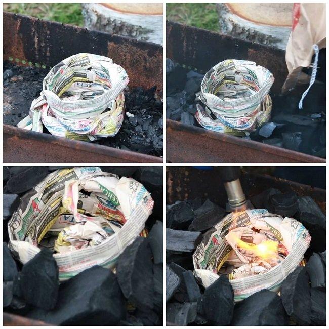 Розжиг мангала с помощью газеты
