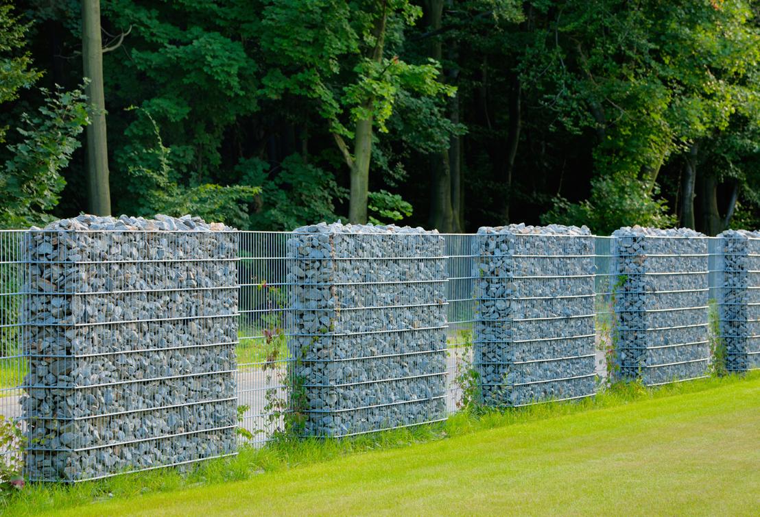 Забор из габионов с просветами