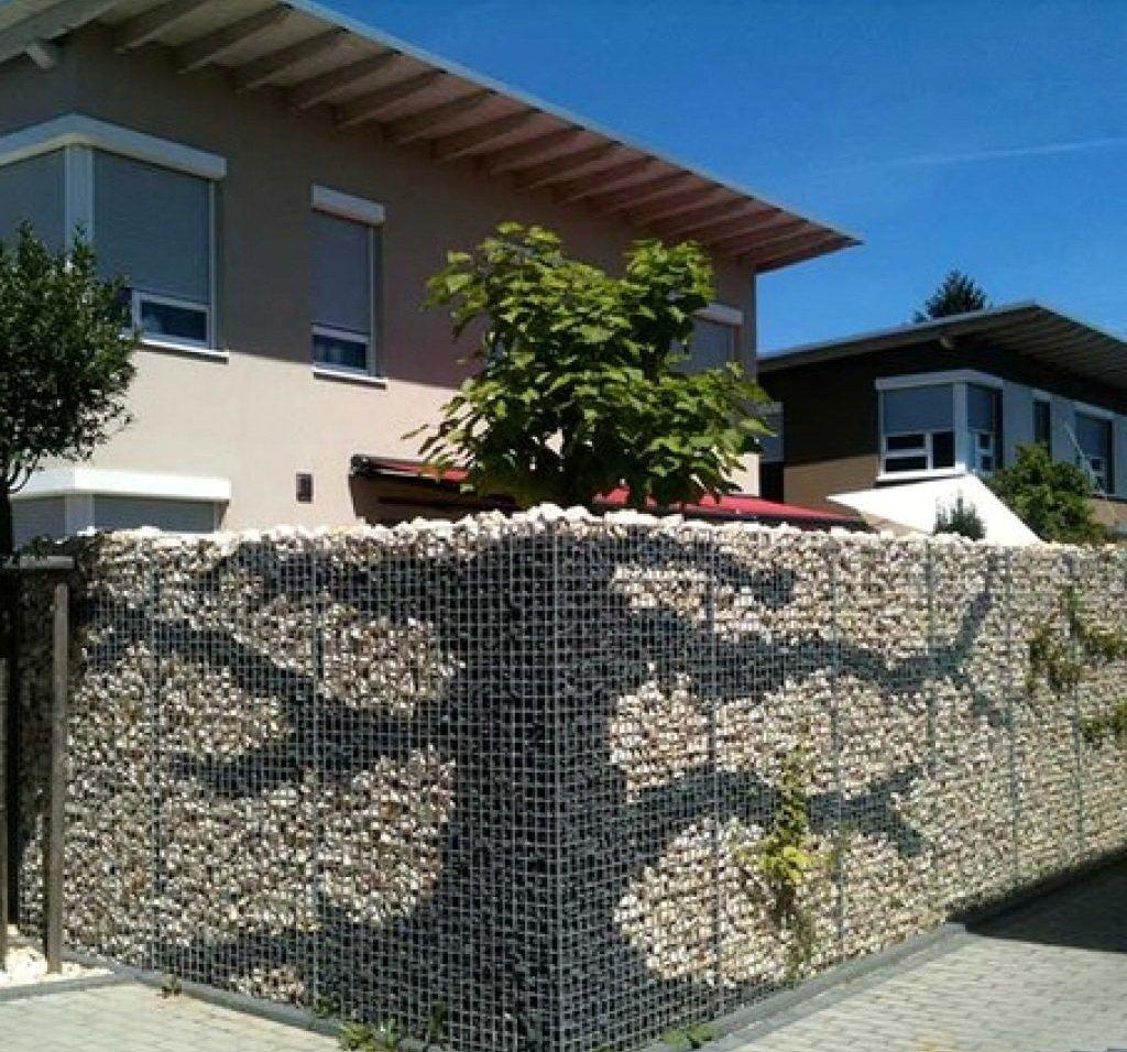 Забор из габионов с узором в виде дерева