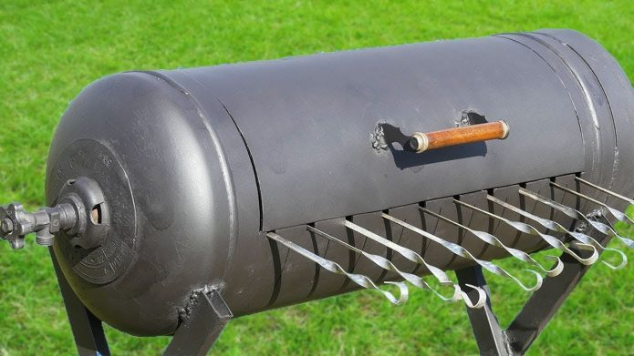 мангал из газового баллона с крышкой