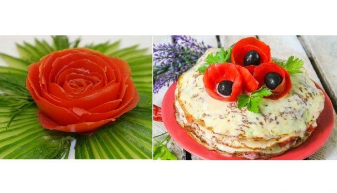 Цветы из томатной шкурки