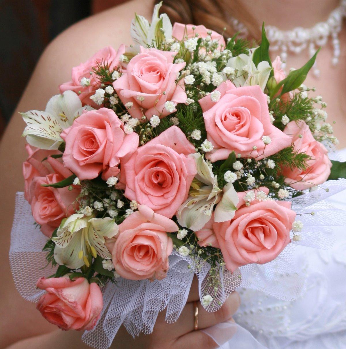 Ромашки фото, букет невесты розового цвета