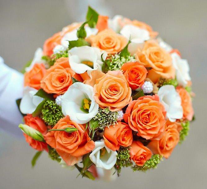 Оранжевые свадебные букеты для невесты из роз, заказ