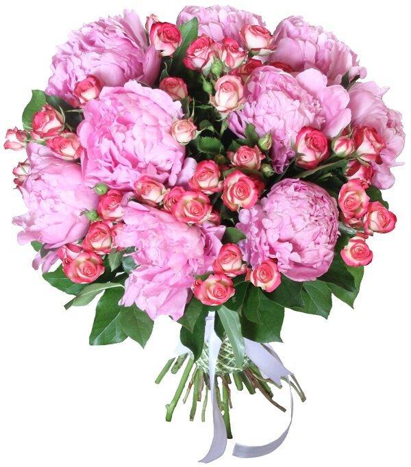 Букет кустовых роз с пионами