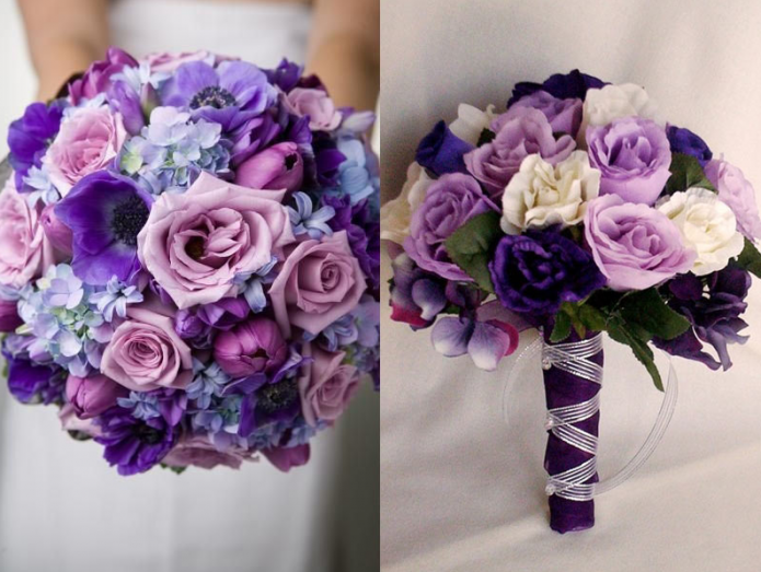 букет невесты из фиолетовых роз