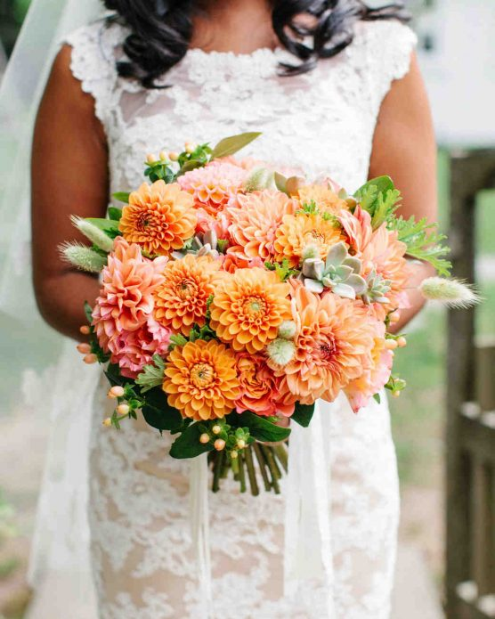 Осенний букет невесты с георгинами