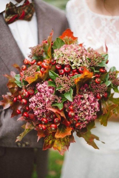 Осенний букет невесты с гортензиями