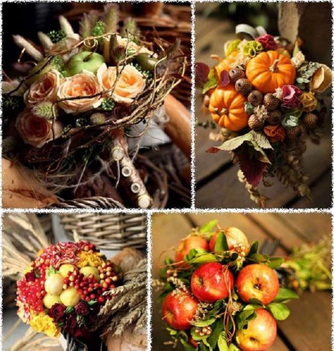 Свадебные букеты из фруктов, овощей, ягод
