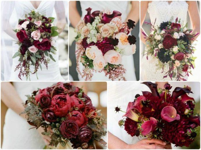 Варианты бордовых букетов для невесты