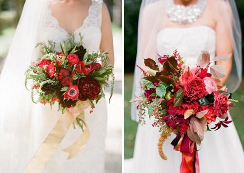 Красный букет невесты: выбор цветов, оформление, красивые сочетания